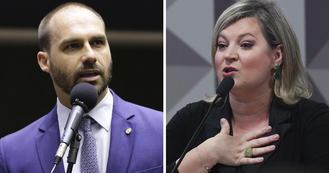 Joice Hasselmann diz que Eduardo Bolsonaro é criminoso, vagabundo e ainda será preso
