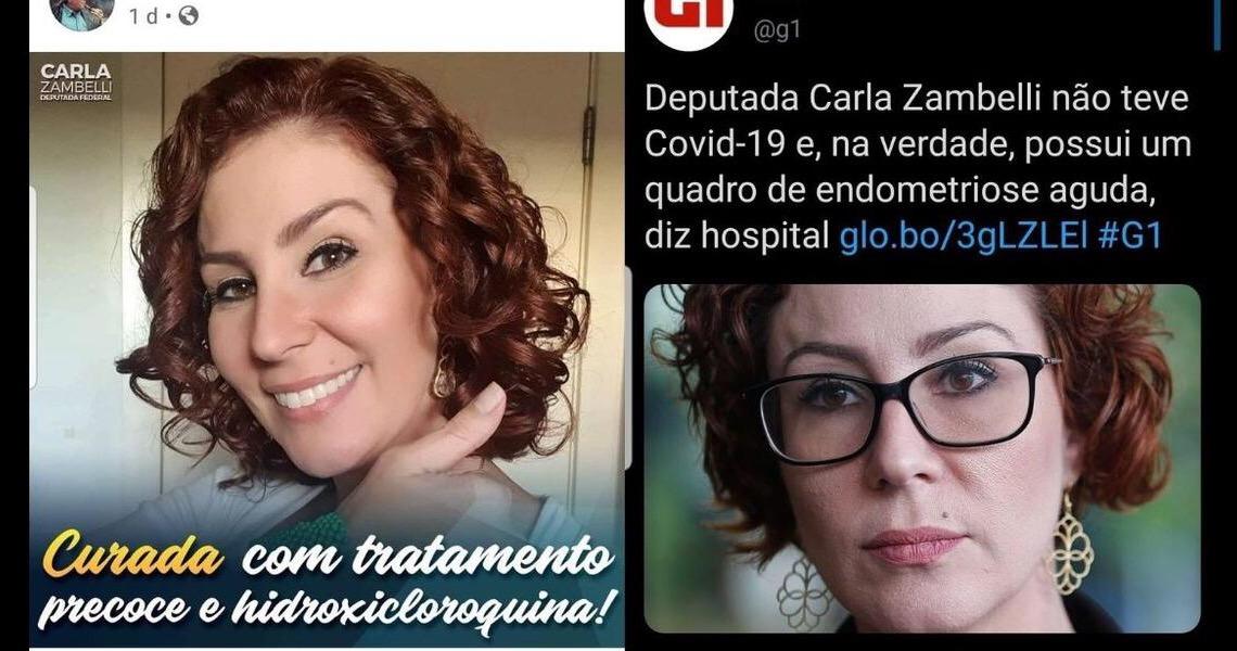 Fraude: Zambelli não teve covid-19, segundo hospital. Redes a chamam de 'rainha da fake news'