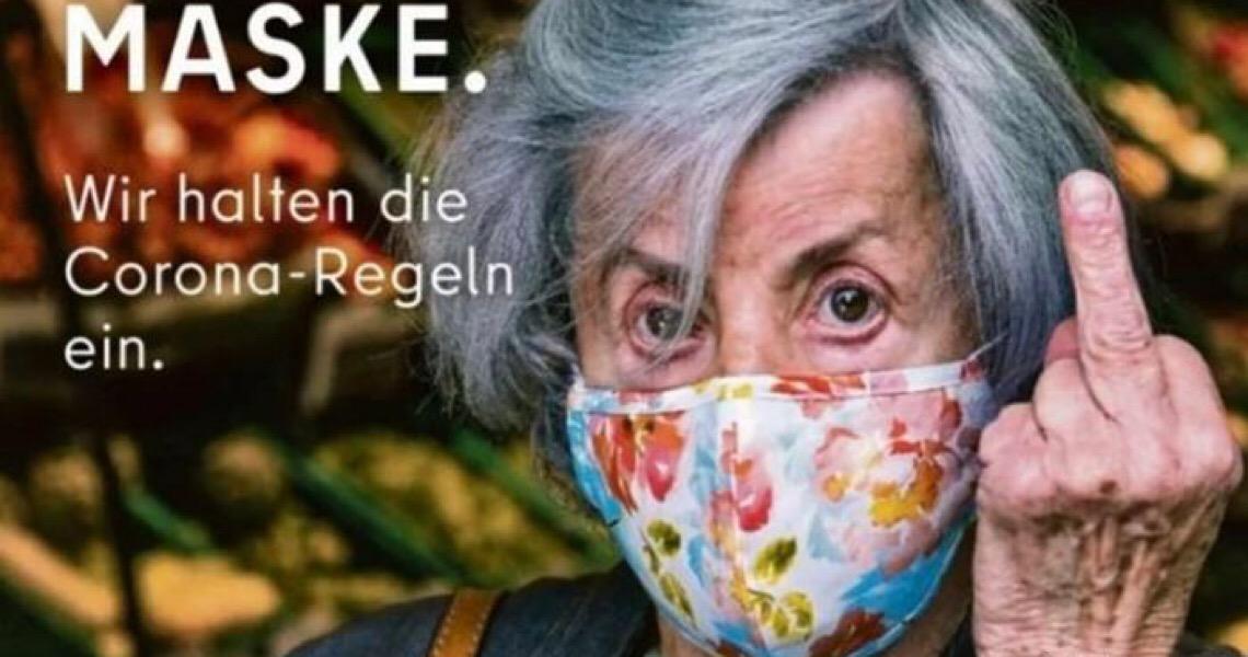 Berlim mostra dedo do meio para quem se recusa a usar máscara