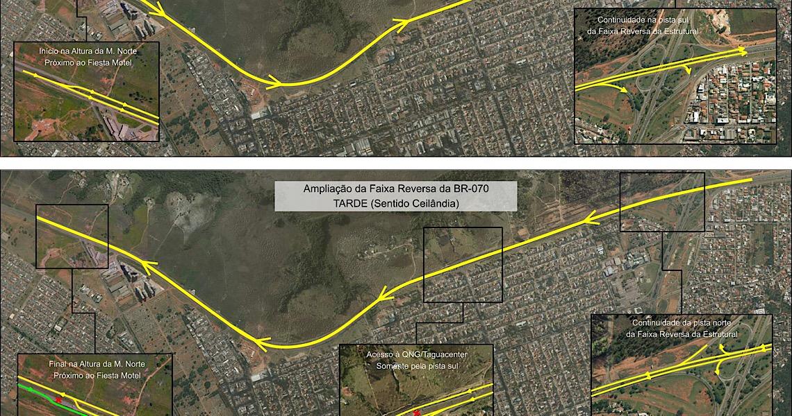 Inversão da BR-070: Como ficará o trânsito pelas vias centrais de Taguatinga