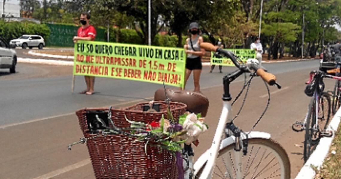 Memoriais para ciclistas: Em 2020, oito ciclistas perderam a vida no trânsito do DF