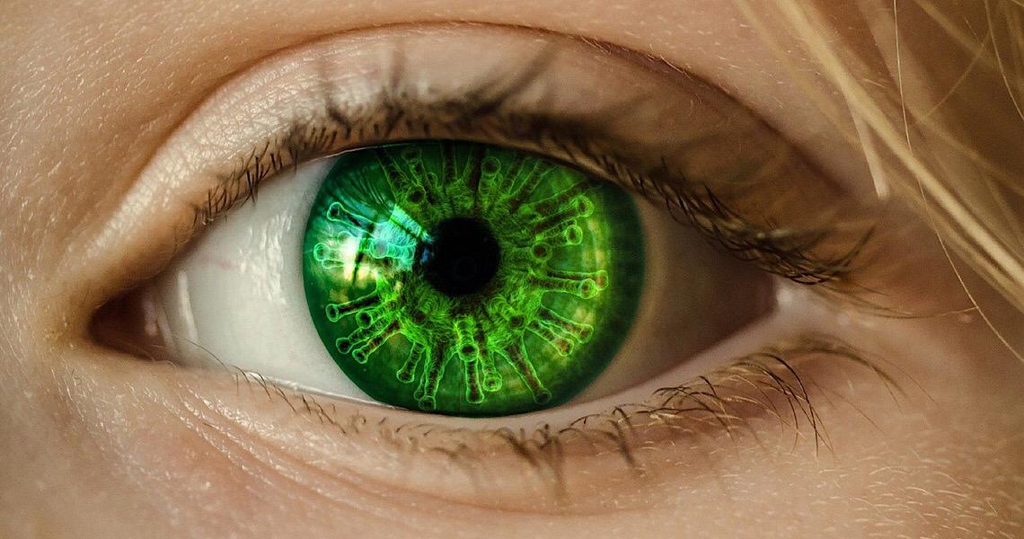 Vírus também pode chegar aos olhos. Mudanças em receptores de imagem