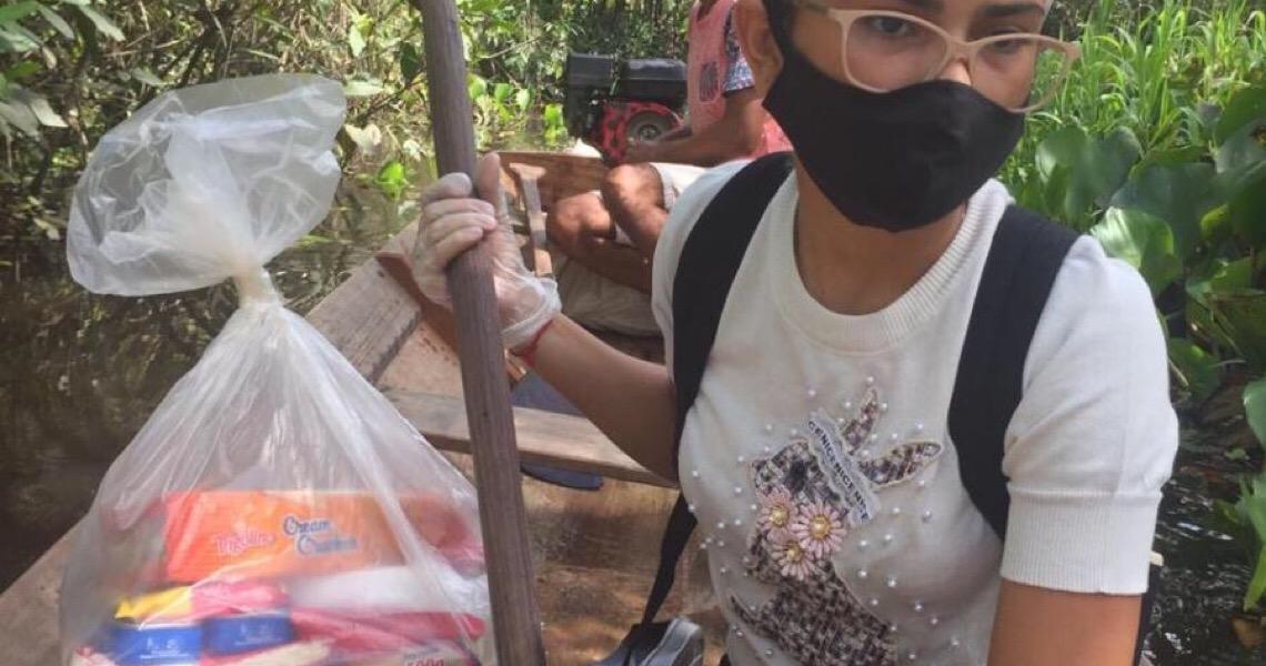 Solidariedade: Jovens usam até canoa para entregar cestas básicas no interior do Amapá