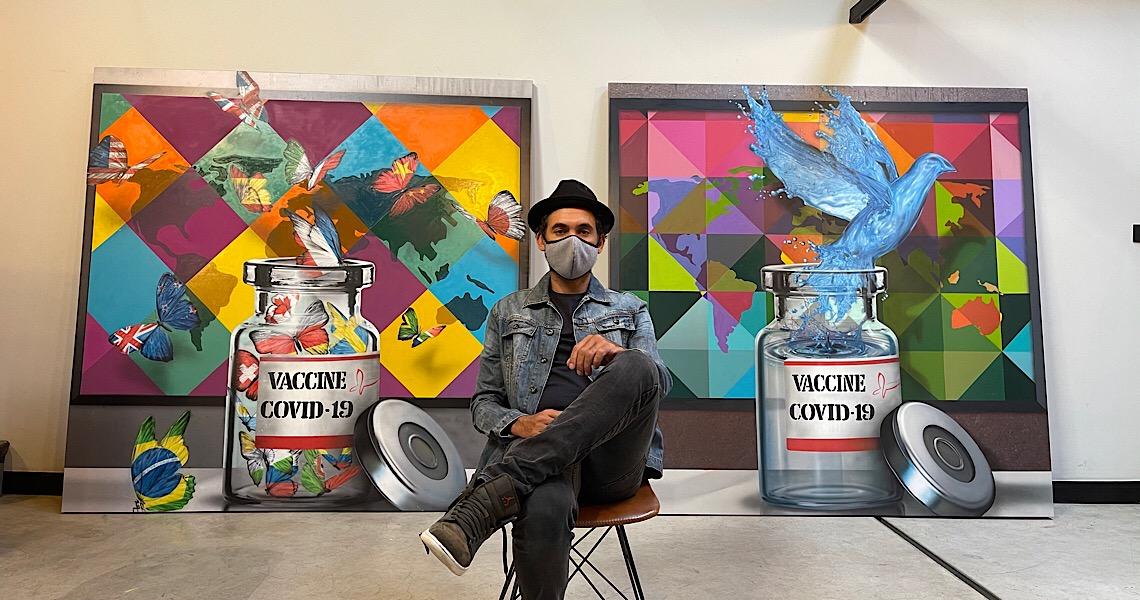 Eduardo Kobra presenteia Instituto Butantan e Fiocruz com painéis sobre as vacinas contra a Covid