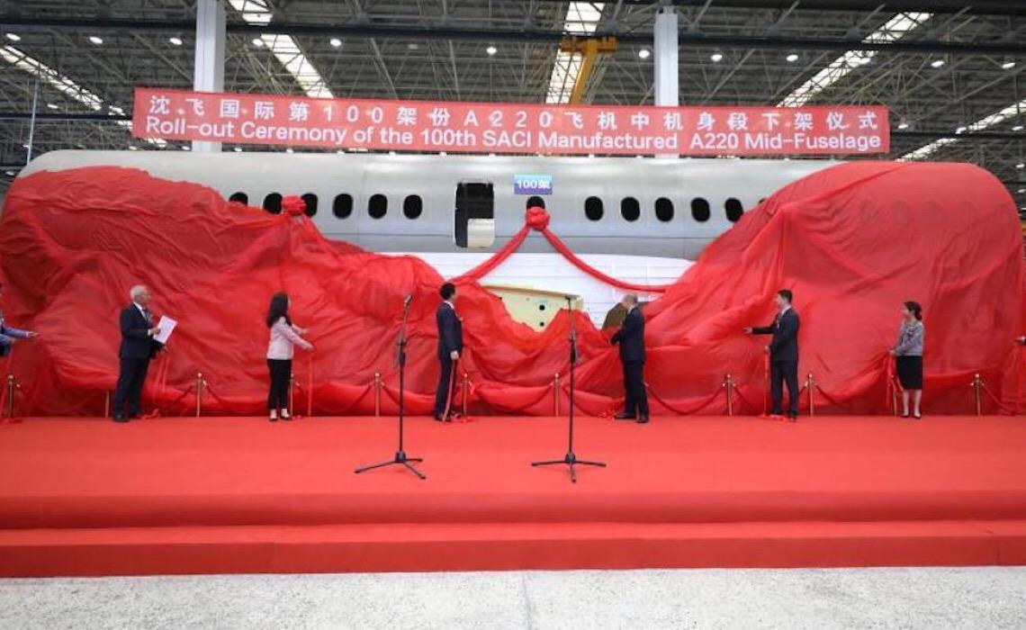 Empresa chinesa produz a 100ª fuselagem média do Airbus A220