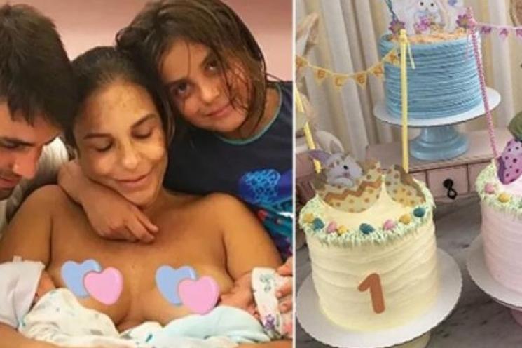 Ivete Sangalo comemora um mes versário das gêmeas com bolos fofos
