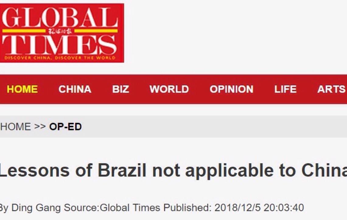 Jornal chinês ataca comparação com Brasil: 'não são dispostos ao trabalho'