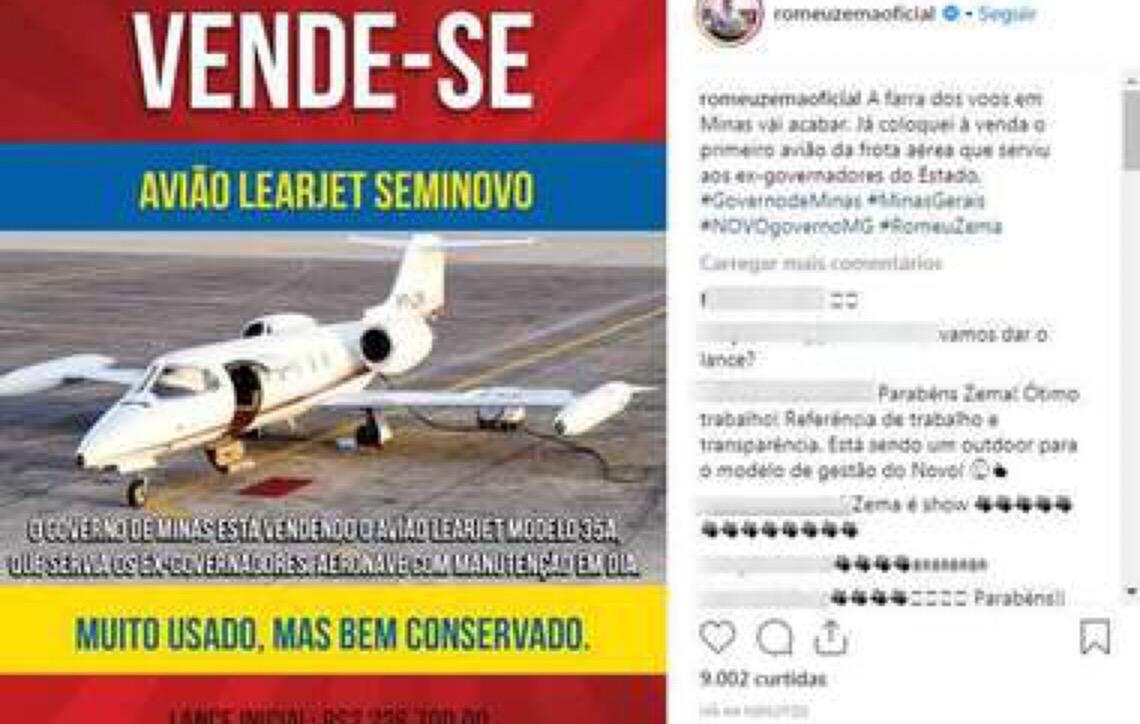 Governador Zema, de Minas Gerais, dá exemplo e manda leiloar o jatinho estadual