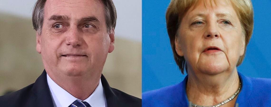 Jair Bolsonaro e Angela Merkel conversam sobre recursos para Amazônia