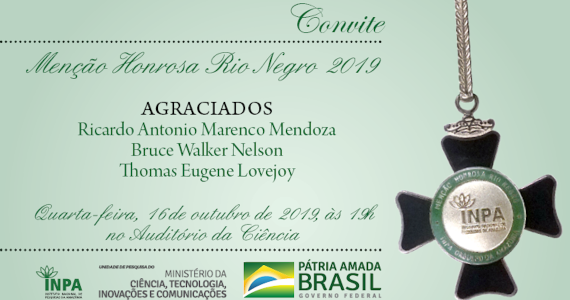 Menção Honrosa Rio Negro do Inpa condecorara personalidades científicas atuantes na Amazônia