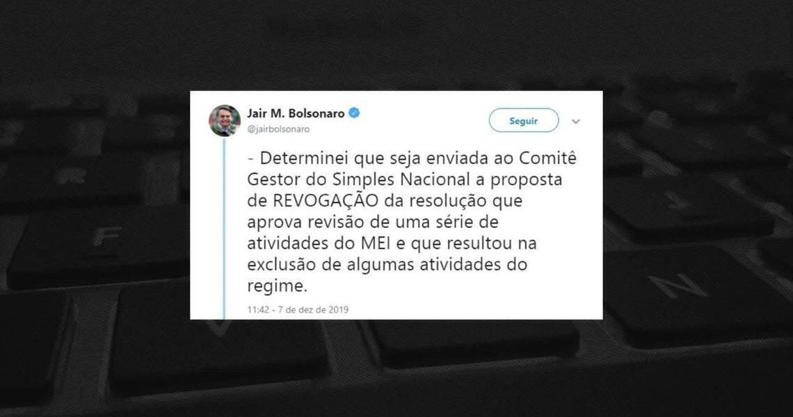 Jair Bolsonaro determina envio de proposta para revogar medida que exclui ocupações do MEI