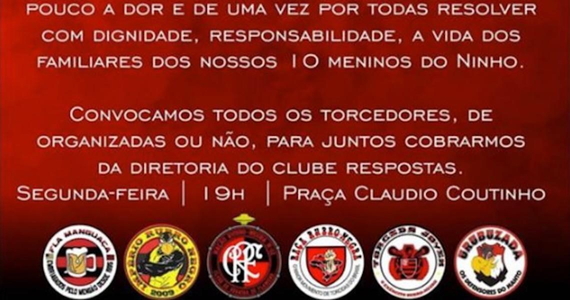 Torcidas organizadas do Flamengo convocam para protesto: