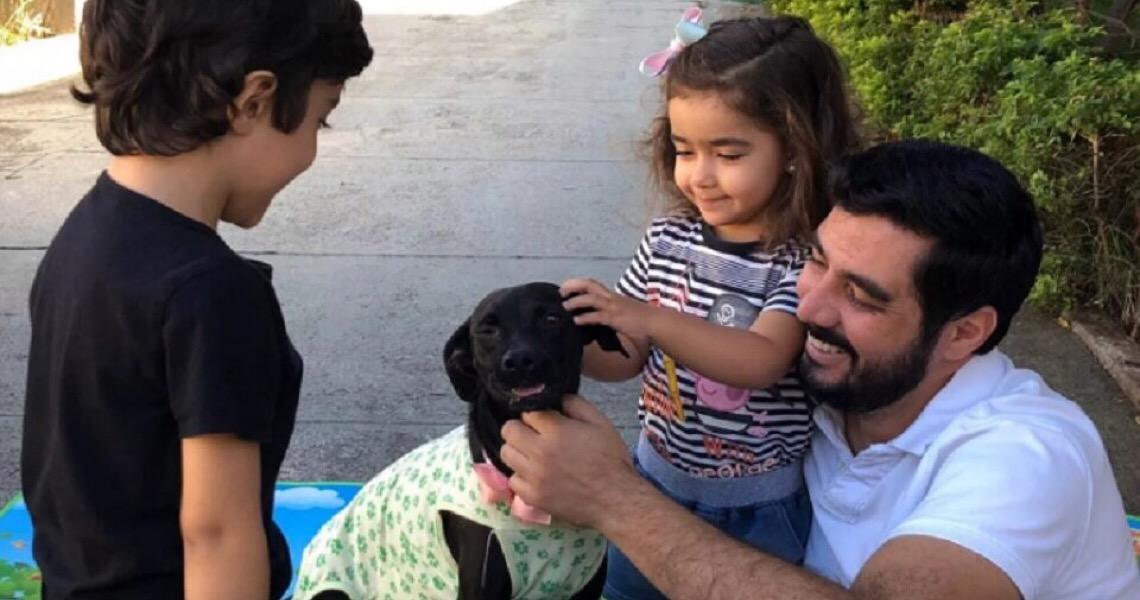 """Família adota cadelinha e decide chamá-la de """"Quarentena"""""""